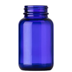 100 cc Cobalt Blue Glass Round Packer Bottle - 38-400 Neck Finish - Front View