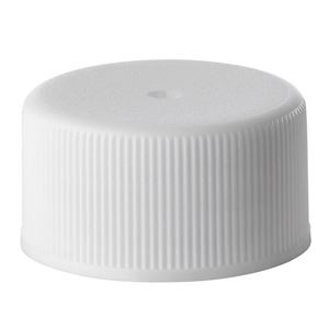 24-414 White P/P Plastic Lined Continuous Thread Closure - F217 Liner - Side View