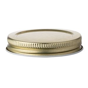 58-400 Gold Metal Tinplate Continuous Thread Lined Closure - Plastisol Liner - Side View