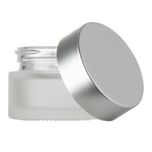 15 ml Frosted Clear Glass Jar with 36 mm Matte Silver Lined Closure - F217 Liner - Front View