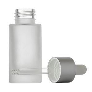30 ml Frosted Clear Glass Cylinder Round Bottle with 24-410 White Silicone/Matte Silver Dropper with Glass Pipette - Front View