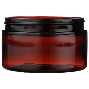 4 oz Light Amber PET Plastic Round Wide Mouth Jar - 70-400 Neck Finish - Front View