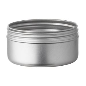 100 ml Silver Aluminum Round Jar - 70 mm Neck Finish - Front View