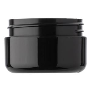 0.5 oz Black P/P Plastic Round Double Wall Jar - 48-400 Neck Finish - Front View