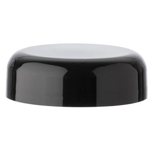 48-400 Continuous Thread Black Plastic Unlined Dome Closure - Front View