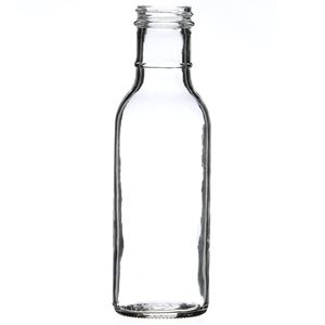 12 oz Clear Glass Round Long Ring Neck Sauce Bottle - 38-405 Neck Finish - Front View
