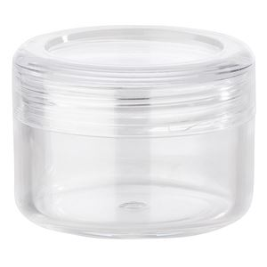 5 ml / 5 Gram Clear P/S Plastic Round Jar with Clear P/S Plastic Closure and Writeable Adhesive Paper Label Included - Assembled View