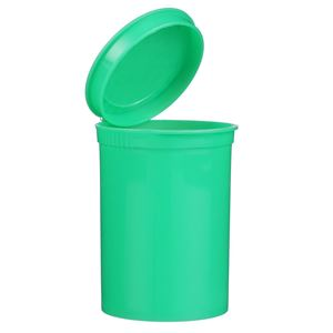 30 Dram Green P/P Plastic Round Child Resistant Pop Top Vial - Hinged Flip Top with Text - Front View