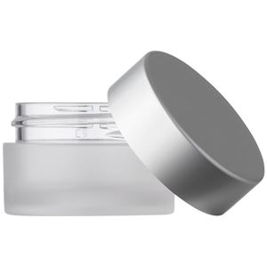 15 ml Frosted Clear PET Plastic Round Jar with PE Sealing Disc & Matte Silver Aluminum Closure - Front View