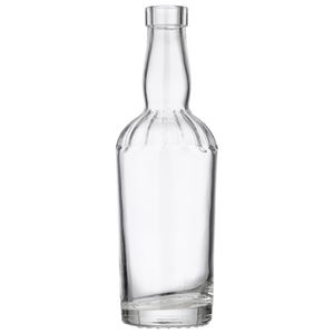 375 ml Clear Glass Round Fluted Tapered Jimmy Lee Liquor Bottle - 18.5 mm Bar Top Neck Finish - Side View