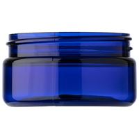 2 oz Cobalt Blue PET Plastic Round Low Profile Jar - 58-400 Neck Finish - Side View