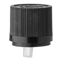 18 mm Black HDPE Plastic Tamper Evident Closure - 1.0 Reducer Fitment for Euro Dropper - Side View
