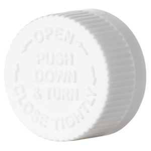 22-400 White P/P Plastic Lined Push and Turn Child Resistant Closure with Text Top - Plain F217 Liner - Top View