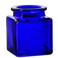1.4 oz Cobalt Blue Square 30% Recycled Glass Jar - 27 mm Cork Neck Finish - Side View