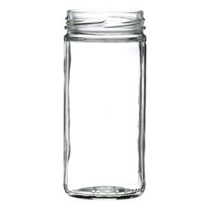 8 oz Clear Glass Round Paragon Jar - 58-2020 Lug Neck Finish - Front View