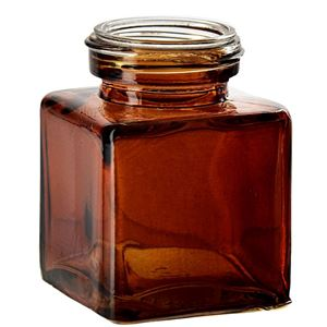 3.4 oz Dark Amber Square 30% Recycled Glass Jar - 43-400 Neck Finish - Front VIew