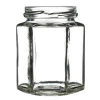 190 ml Clear Glass 6-Sided Hexagon Jar - 58-2020 Lug Neck Finish - Front View