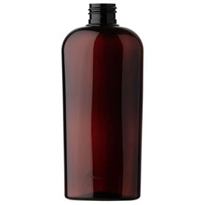 8 oz Light Amber PET Plastic Reverse Tapered Oval Bottle - 24-410 Neck Finish - Front View