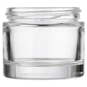 2.343 oz Clear Glass Round Heavy Weight Jar - 58-400 GPI Neck Finish - Front View