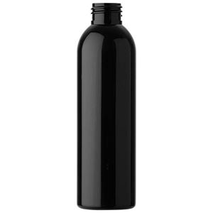 6 oz Dark Amber PET Plastic Bullet Round Bottle - 24-410 Neck Finish - Front View