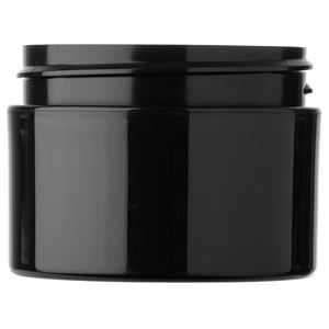 1 oz Black P/P Plastic Round Double Wall Jar with 53-400 Neck Finish