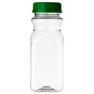 8 oz PET Plastic Square Juice Bottle with 43 mm Green Tamper Evident Closure, Clear